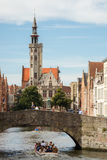 Jan van Eyckplein Square in Bruges Royalty Free Stock Photos
