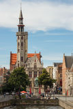 Jan van Eyckplein Square in Bruges Royalty Free Stock Photo