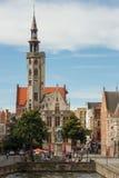 Jan van Eyckplein Square in Bruges Royalty Free Stock Photo