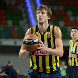 Jan Vesely. LUBIN 23/10/2014 _ 2nd round Euroleague basketball match between the PGE Turow Zgorzelec and Fenerbahce Ülker Istanbul royalty free stock image