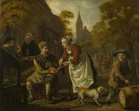 Jan Victors - A Village Scene with a Cobbler royalty free stock image