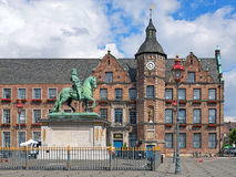 Jan Wellem equestrian monument and Old Town Hall in Dusseldorf,. Equestrian monument of Johann Wilhelm II (Jan Wellem) and Old Town Hall of Dusseldorf, Germany Royalty Free Stock Photo
