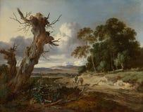 Jan Wijnants - uma paisagem com as duas árvores inoperantes foto de stock