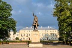 Jan Zamoyski Monument in Zamosc, Polen Skulptur zum großen Gründer Jan Zamoyski, ist es ein historisches Monument, das unter UNES lizenzfreie stockfotos