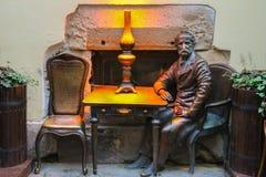 Jan Zech sculpture near the entrance of pub-museum Gas Lamp Stock Images