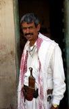 从也门的人有传统匕首的 库存照片
