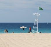 Jandia海滩在费埃特文图拉岛,社论 库存照片