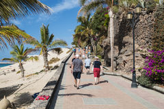 Jandia海滩在费埃特文图拉岛,社论 图库摄影