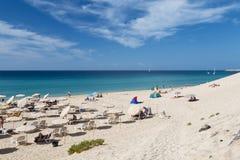 Jandia海滩在费埃特文图拉岛,社论 免版税图库摄影