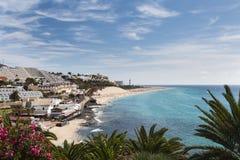 Jandia海滩在费埃特文图拉岛,西班牙 免版税库存图片