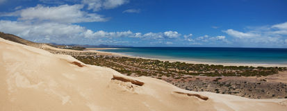 Jandia beach. On Fuerteventura with huge dune, Canary Islands Stock Photo