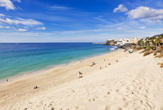 Jandia beach and the old town of Morro Jable Royalty Free Stock Images
