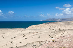Jandia Desert, Fuerteventura. View of the desert and northern coastline of Jandia in Fuerteventura, Spain Royalty Free Stock Photography