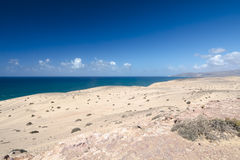 Jandia Desert, Fuerteventura. View of the desert and northern coastline of Jandia in Fuerteventura, Spain Stock Photos