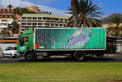 Spite delivery truck. Jandia, Fuerteventura, Canary Islands, Spain - October 20, 2017: Spite delivery truck passing by in the city of Jandia royalty free stock photo