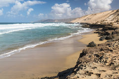 Jandia North Beach, Fuerteventura. View of a beach at the northern coast of Jandia with its rock formations in Fuerteventura, Spain Stock Photo