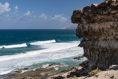 Jandia North Coast, Fuerteventura. View of the northern coast of Jandia with its rock formations in Fuerteventura, Spain Stock Image