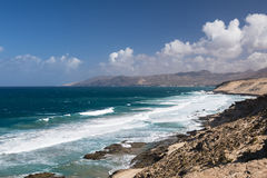 Jandia North Coast, Fuerteventura. View of the northern coast of Jandia with its rock formations in Fuerteventura, Spain Royalty Free Stock Photography