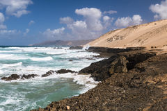 Jandia North Coast, Fuerteventura. View of the northern coast of Jandia with its rock formations in Fuerteventura, Spain Stock Images