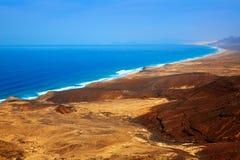 Jandia zachód wyrzucać na brzeg antenę Fuerteventura Fotografia Royalty Free