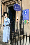 Jane Austen Centre Bath England. This is the model of Jane Austen the world famous author and writer of Pride and Prejudice, displayed outside the Jane Austen Royalty Free Stock Images