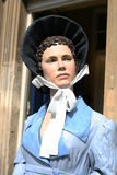 Jane Austen famous author Model Portrait. This is the model of Jane Austen displayed outside the Jane Austen Centre in Bath England Royalty Free Stock Photography