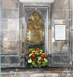 Jane Austen's Grave. Jane Austen is buried in the Winchester Cathedral in Winchester Stock Photography