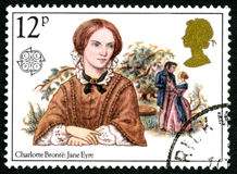 Jane Ayre UK Postage Stamp. GREAT BRITAIN - CIRCA 1980: A used postage stamp from the UK, celebrating the novel Jane Eyre by English writer Charlotte Bronte Stock Image