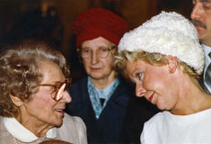 Jane Byrne. Idelle Goode, head of Chicago's Office for Senior Citizens and Handicapped shmoozes with her boss, Mayor Jane Byrne, in the lobby of City Hall on Royalty Free Stock Photography