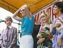 Jane Byrne. Mayor Jane Byrne is joined by actresses Sandy Duncan and Barbara Eden, as well as the city's Commissioner for Human Services, Lenora Cartwright Royalty Free Stock Photos
