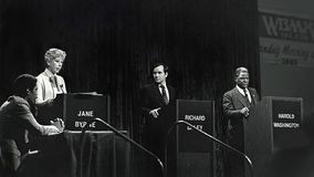 Jane Byrne, Richard Daley Jr , et Harold Washington Photographie stock libre de droits