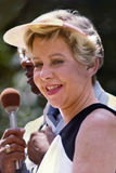 Jane Byrne. Wearing a sun dress and visor, Mayor Jane Byrne attends a senior citizens picnic in Chicago in July, 1981. In 1979 Byrne became the first and only Royalty Free Stock Image