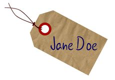 Jane Doe Toe Tag On White Background. A Jane Doe brown paper tag over a white background vector illustration
