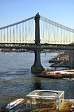Jane`s Carousel and Manhattan Bridge. Brooklyn Bridge Park Stock Photo