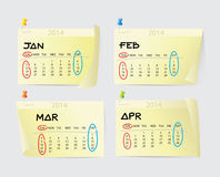 janeiro a April Calendar 2014 Foto de Stock