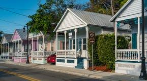 janeiro 24,2017 Key West, FL Vista de casas do búzio Imagens de Stock