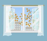 Janela aberta com cortinas em um fundo azul ilustração do vetor