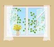 Janela aberta com cortinas em um fundo bege ilustração do vetor