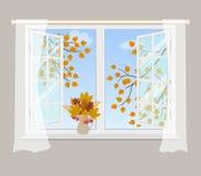 Janela aberta com cortinas em um fundo cinzento ilustração do vetor