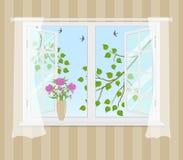 Janela aberta com cortinas em um fundo listrado ilustração do vetor