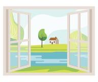 Janela aberta com uma opinião da paisagem ilustração stock