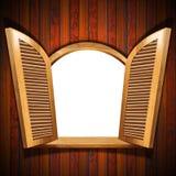 Janela aberta de madeira ilustração stock
