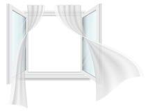Janela aberta e cortinas de vibração ilustração royalty free