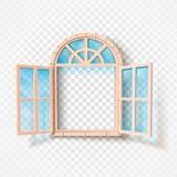 Janela aberta isolada Quadro de madeira e vidro Ilustração do vetor ilustração royalty free