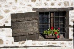Janela antiga de madeira de Brown com flores do potenciômetro Imagem de Stock