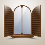 A janela arqueada semicircular com os obturadores protetores italianos Fotografia de Stock