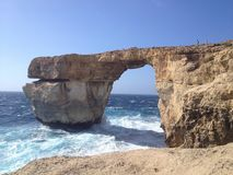Janela azul de Malta, em San Lorenzo foto de stock royalty free