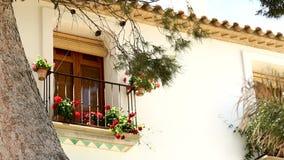 Janela bonita com flores vermelhas Espanha, Altea video estoque