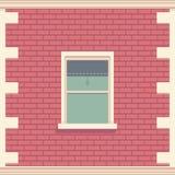 Janela clássica na parede de tijolo Elemento arquitetónico da fachada da construção Ilustração detalhada do vetor Imagens de Stock Royalty Free