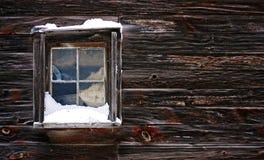 Janela coberto de neve Imagens de Stock